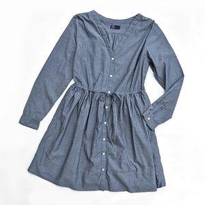 GAP Cotton Long Sleeve Modest Chambray Shirt Dress
